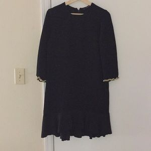 Zara black dress with gold chain sleeve cuff